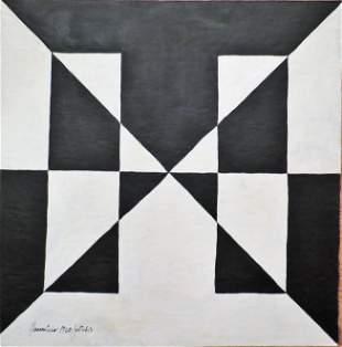 "Mauricio Nogueira Lima 1960 Acrylic on Board 13""x13"""
