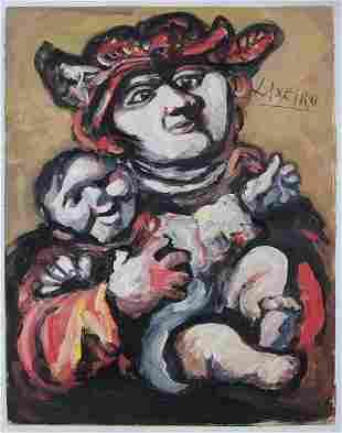 Jose Otero Laxeiro Gouache on Paper - Spanish Art