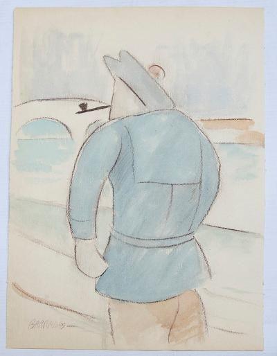 """Rafael Barradas Gouache on Paper 14"""" x 9"""" Unframed"""