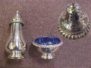 Sterling Silver Salt Cellar & Pepper Shaker.