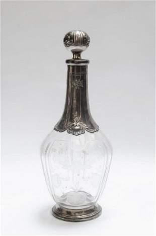 "Silver & Crystal Decanter (Minerva) France H: 9"""