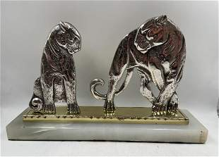 "Art Deco Bronze Sculpture w/ Onyx Base H: 6"" W: 9"""