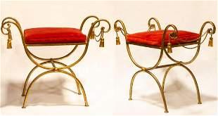 """Maison Jansen Pair of Bronze Benches H: 25"""" W: 29"""""""