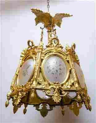 "Bronze & Crystal French Lantern H: 32"" Diam: 26"""