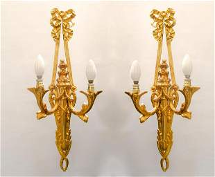 "Pair of Dore Bronze Sconces H: 24.6"" France"