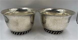 "Jean Despres Pair of Silver Bowls H: 3.2"" x D: 5.2"""