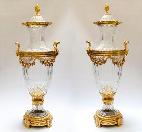 """Bronze & Crystal Baccarat Pair of Large Urns H: 29"""""""