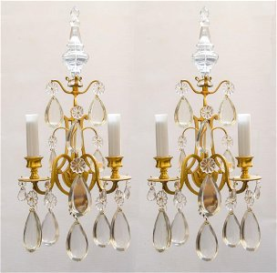"""Baccarat Pair of Crystal & Bronze Sconces H: 20"""""""