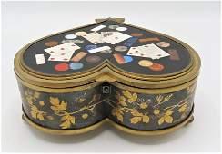 Boulle, Bronze & Pietra Dura Jewelry Box Heart Shaped