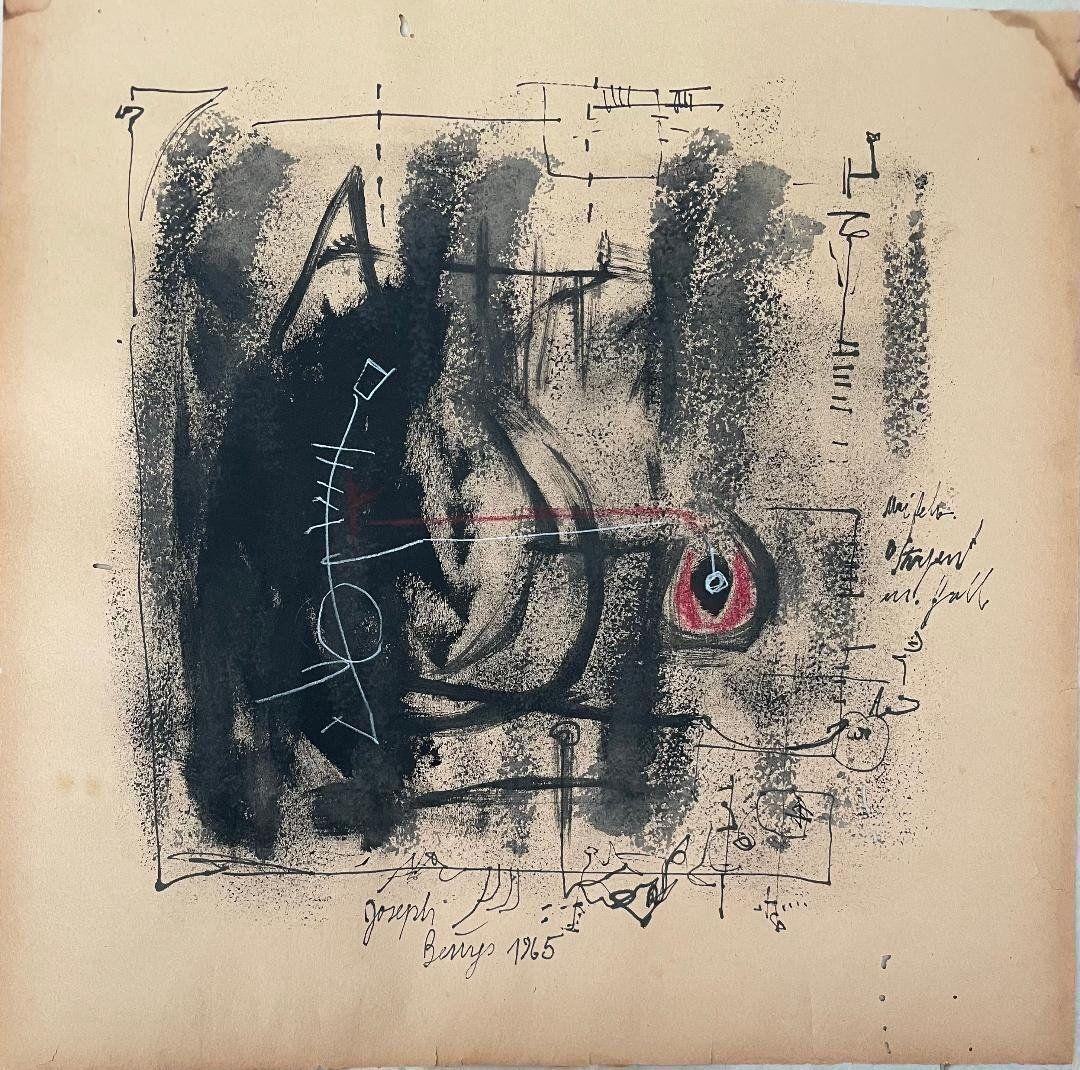 "Joseph Beuys Mixed Media on Paper 17"" x 17"" No COA"