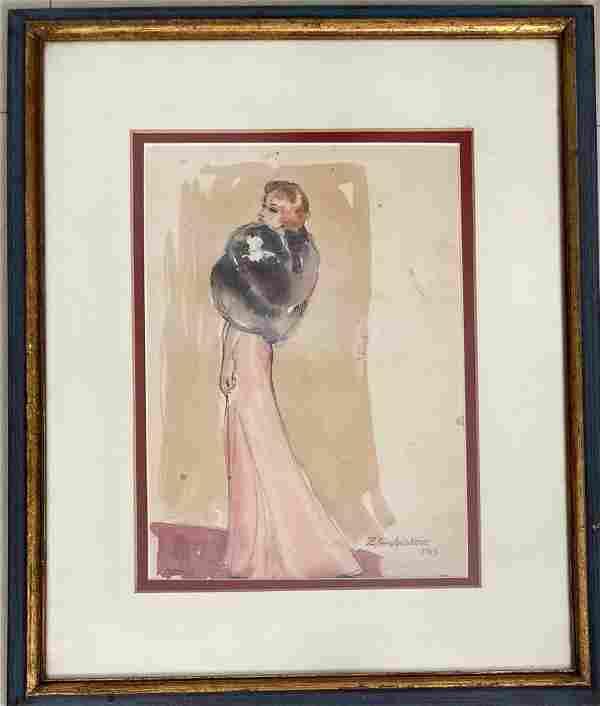 Zinaida Serebriakova Watercolor on Paper No COA