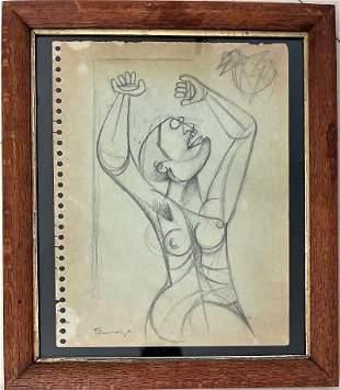"Rufino Tamayo Pencil on Paper 11.5"" x 8.5"" Fr: 14"" x"