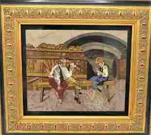 Pietra Dura Panel, Boys Playing Cards .Florence.