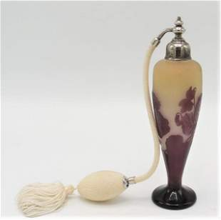Galle  Cameo Glass Perfume Bottle France 1910 H: 8""