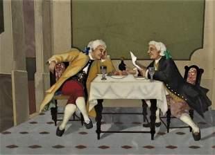 "Large Pietra Dura Panel Mozart & Salieri 12"" x 9"" Italy"