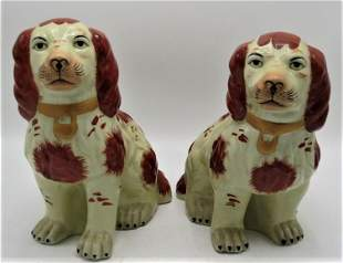 """Pair of Porcelain Figures of Dogs H: 12"""" W: 11"""" D: 6"""""""
