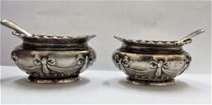 Pair of English Sterling Silver Salt & Pepper Stands