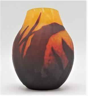 "Daum Nancy Cameo Glass Small Vase H: 3.5"" France"