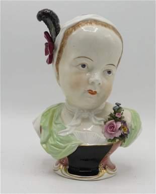"""Sevres Porcelain Bust H: 8"""" France 1900"""