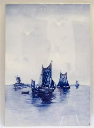"Delft Porcelain Plaque ""Windmill"" 22"" x 15"""