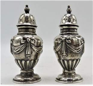 Pair English Sterling Silver Salt & Pepper Shakers H: