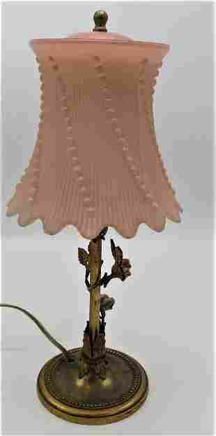 """French Table Lamp w/ Opaline Shade H: 13"""""""