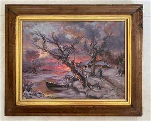 Julius Klever Oil on Canvas No COA .