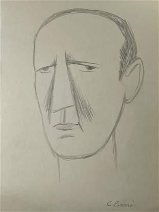 "Carlo Carra Pencil on Paper  13"" x 8"" Unframed"