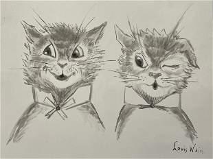 "Louis Wain Pencil on Paper 10"" x 11"" No COA"