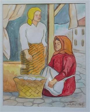 "Carlos Maside Watercolor on paper 12"" x 10"" Unframed"