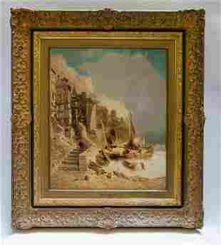 "Eugene Deshayes Oil on Canvas Art: 15"" x 18"" Fr: 18"" x"