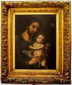"Oil on Wood XVIII Cent St Jose 24"" x 17"" Excellent"
