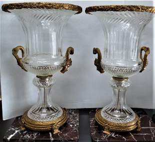 Pair of Baccarat Urns Bronze & Crystal