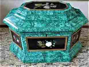 Magnificent Large Malachite & Pietra Dura Box