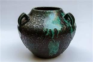 """Atelier Primavera Art Deco Ceramic Vase H: 9.5"""" D: 12"""""""