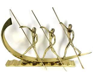 """Art Deco Hagenauer Style Bronze Boat H: 9"""" W: 14"""""""
