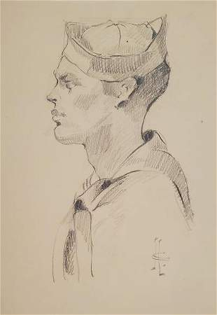 "J C Leyendecker Pencil on Paper 13"" x 10"""