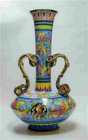"""Large Italian Ceramic Vase H: 29"""" W: 16.5"""" Excellent"""