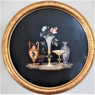 """Magnificent Pietra Dura Plaque Diam: 16"""" Florence"""