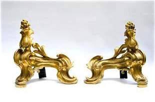 "Pair of Bronze Chenetes (XIX Cent) France 10"" x 11"""