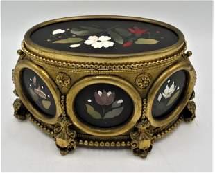 "Pietra Dura & Bronze Jewelry Box H: 5"" W: 10"" D: 6"""
