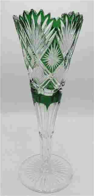 Val Saint Lambert C.1910 green to clear Vase cut
