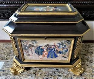 "Very Large Pietra Dura Jewelry Box H: 10"" W: 16"" D: 10"""
