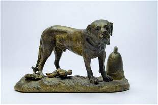 "Bronze Figure of Dog H: 4.5"" W: 7.7"" France Excellent"