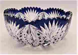 Val Saint Lambert C.1910-10 cobalt to clear bowl cut