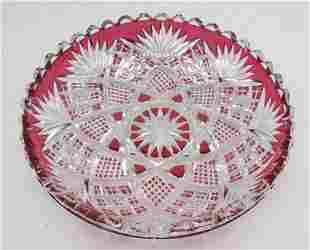 Cranberry to clear cut crystal centerpiece . American