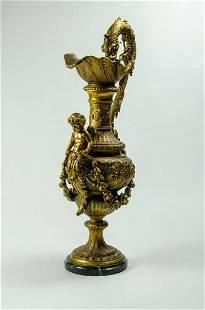 """Art Nouveau White Metal Large Jar w/ Cherub H: 24"""""""