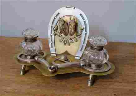 """Hermes Paris Inkwell with Horses 11"""" x 6"""" x 7"""" France"""