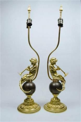 """Pair of Bronze Lamps w/ Cherubs H: 32"""" Total. Figures"""