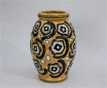 """Cavalieri Art Deco Ceramic Vase H: 12"""" Italy"""